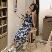 小眾復古印花吊帶裙女夏季花邊設計中長款洋裝韓版氣質顯瘦裙子