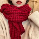 圍巾 冬季正韓百搭方形毛線加厚保暖針織圍脖紅色圍巾【快速出貨】