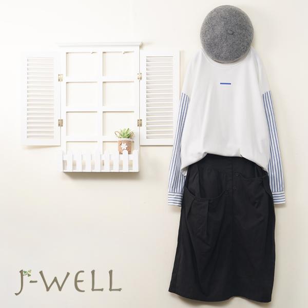 J-WELL 趣味藍條仿兩件圓T口袋工作裙二件組(組合A483 8J1375白+8W6573黑)