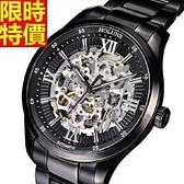 機械錶-陀飛輪自動鏤空低調奢華精鋼男腕錶2款66ab26[時尚巴黎]