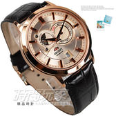 ORIENT東方錶 動力儲存藍寶石機械腕錶 防水真皮男錶 玫瑰金電鍍x咖 FET0P001W