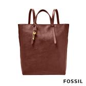 FOSSIL CAMILLA 真皮三用後背包 (可置入13吋筆電)-酒紅色