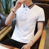 夏季新款男士短袖t恤男韓版修身衣服潮流翻領純色上衣polo衫大碼T·9號潮人館