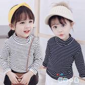 女童加絨T恤秋冬純棉長袖兒童高領打底衫3歲百搭小童寶寶上衣【奇趣小屋】