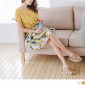 《DA4880》前襟打褶純色拼接印花棉麻裙襬抽腰綁帶洋裝.2色 OrangeBear