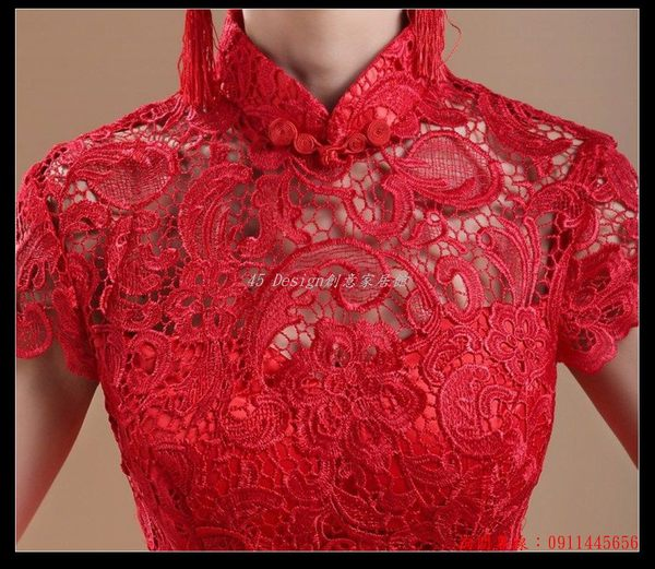 (45 Design) 空運 預購7天到貨  紅色一字肩魚尾拖尾新娘伴娘結婚訂婚婚禮敬酒服晚裝婚紗禮服旗袍