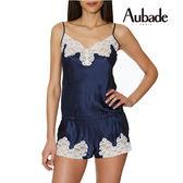 Aubade-Crepuscule 蠶絲S連身細帶褲裝(藍粉白)VI87