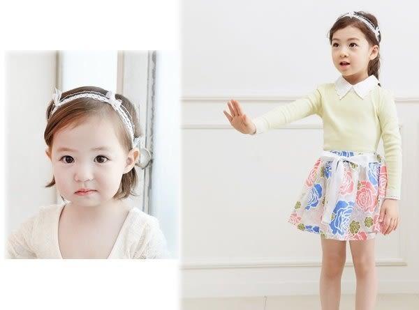 果漾妮妮 韓國高檔蕾絲珍珠款 寶寶 嬰兒 髮帶 頭帶 送禮 搭配禮服 婚禮【 P3907】