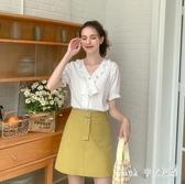 少女泡泡袖襯衫女2020新款韓版設計感時尚雪紡白色寬鬆上衣 KP314【Pink 中大尺碼】