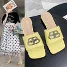 2020年韓版優雅字母扣方頭低跟涼拖鞋3色