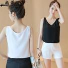 無袖雪紡上衣 小吊帶背心女外穿夏美背西裝內搭簡約收腰打底無袖T恤-Ballet朵朵
