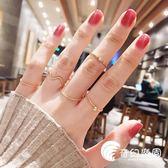 戒指女套装组合日韩潮尾戒个性关节指环简约网红食指戒玫瑰金极细-奇幻樂園