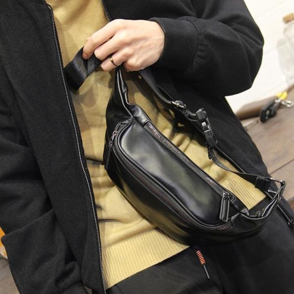 2021新款男士皮質百搭胸包腰包簡約輕便小背包男包側背斜背包潮牌 黛尼時尚精品