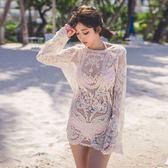 比基尼罩衫女夏季海邊度假溫泉泳衣外套鏤空蕾絲寬鬆防曬 全館免運
