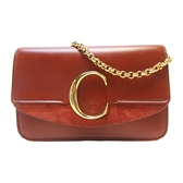 Chloe 克羅伊 蔗糖色牛皮金色C字釦肩背斜背包 C Clutch With Chain Bag 【BRAND OFF】