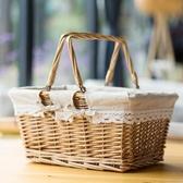 編織筐子藤編玩具收納筐雞蛋零食水果手提收納籃購物籃竹籃子家用