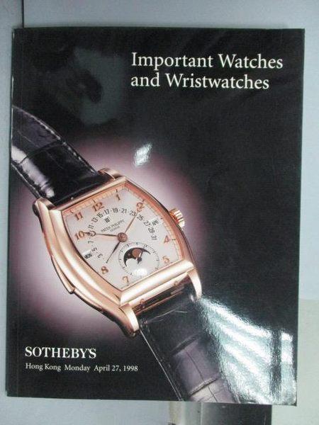 【書寶二手書T8/收藏_QOC】蘇富比_Important Watches and…_1998/4/27