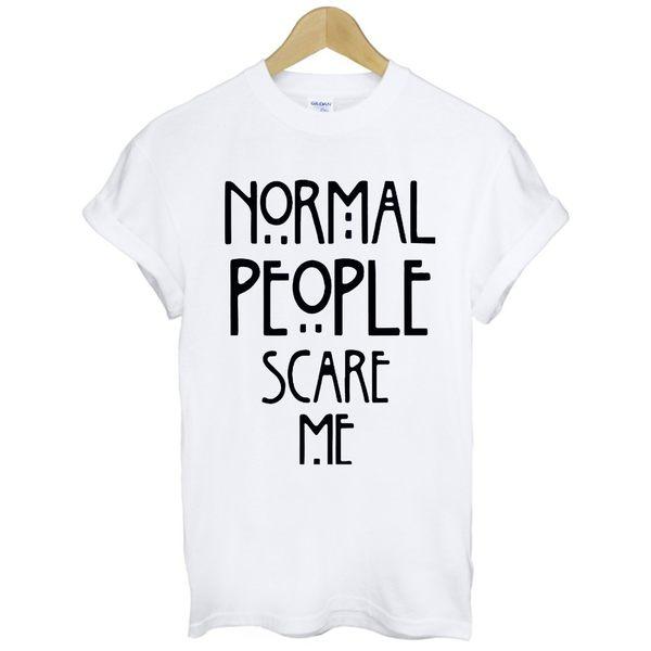 NORMAL PEOPLE SCARE ME短袖T恤-2色 電視電影影集設計時髦文字時尚 gildan 390