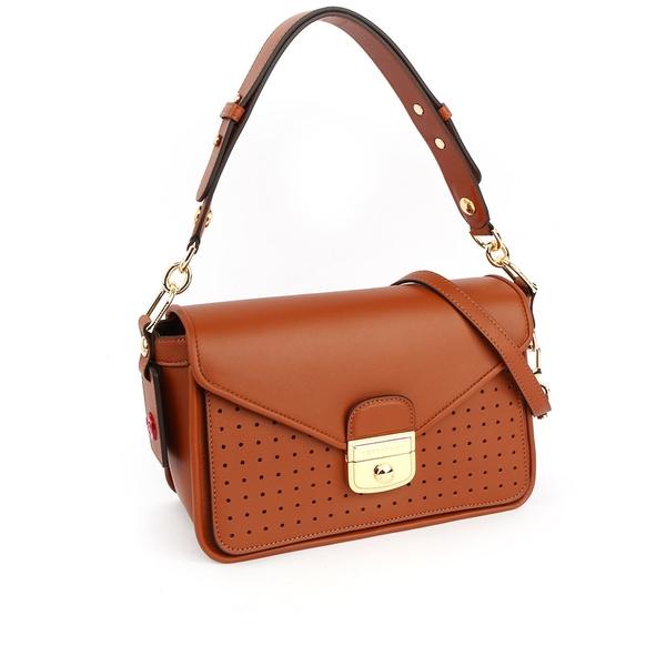 【LONGCHAMP】S號 Mademoiselle Longchamp二用荷篷包(白蘭地酒色) L1323 883 504