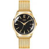 【台南 時代鐘錶 Henry London】英倫復古風潮 經典品味時尚腕錶 HL39-M-0178 黑/金 39mm