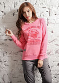 【BTIS】Wonderful Life 交叉領厚絨女長袖T恤 粉紅色