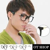 OT SHOP眼鏡框‧中性金屬粗鏡腳框‧方型個性平光眼鏡‧亮黑/透明灰/水墨‧現貨‧J24