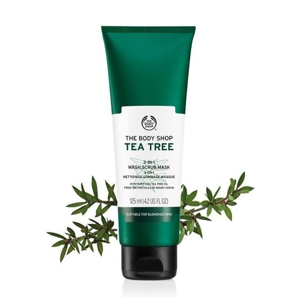 【南紡購物中心】【THE BODY SHOP】茶樹3效淨膚-磨砂-面膜-125ML