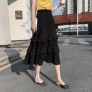 蛋糕裙 黑色百褶雪紡半身裙女夏季高腰中長款垂感顯瘦蛋糕a字裙-Ballet朵朵