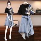 大碼女裝連衣裙胖妹妹2021夏新款洋氣顯瘦氣質牛仔半身裙兩件套裝 小艾新品
