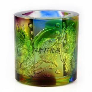 金玉滿堂 九魚筆筒 琉璃雕刻工藝 創意時尚 裝飾品 高檔實用禮品