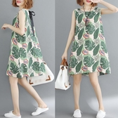 洋裝 連身裙 洋氣大碼仙女裙200斤胖mm夏裝顯瘦休閒韓版寬鬆減齡漏背心洋裝