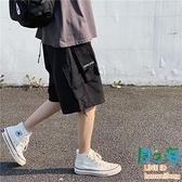 多口袋機能風工裝短褲男士夏季休閒五分褲寬鬆薄款中褲子【風之海】