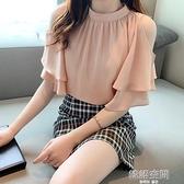 雪紡衫女短袖2021春夏遮肚子露肩很仙的上衣寬鬆顯瘦襯衣洋氣小衫
