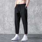 男士休閒長褲子夏季韓版潮流ins潮牌運動褲寬鬆直筒百搭冰絲褲 設計師