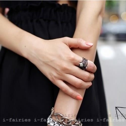 現貨+快速★復古4四件套鑲鑽食指關節戒飾品★ifairies【27212】