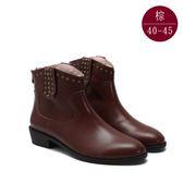中大尺碼女鞋 真皮鉚釘帥氣個性短靴 40-45碼 172巷鞋舖【BD1126-1】