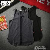 日系港風街頭無袖T恤bf風寬鬆男士韓版潮流休閒運動籃球背心夏裝 依凡卡時尚