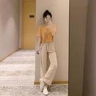 小香風套裝小個子2021年新款夏季女時尚減齡冰絲上衣寬管褲兩件套 果果輕時尚
