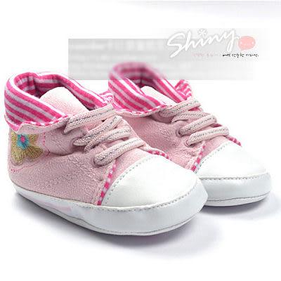 【CB030】shiny藍格子-反摺小花防滑軟底學步鞋嬰兒鞋/男女寶寶鞋