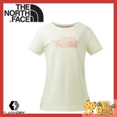 【The North Face 女 FlashDry短袖圓領快排衫《米白》】3GCG/排汗衣/運動短袖/圓領T恤