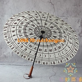 24骨復古風直立傘晴雨傘日晷24節氣黑膠木柄長柄傘【奇妙商舖】