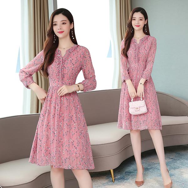 超殺29折 韓系時尚優雅風小碎花褶皺領雪紡收腰長袖洋裝