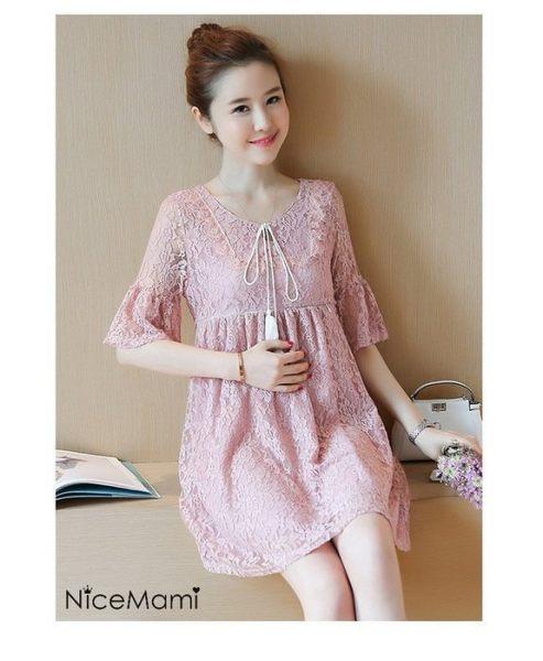 *漂亮小媽咪*韓版 蕾絲 五分袖 哺乳衣 哺乳連衣裙 娃娃裙 哺乳裙 洋裝 BFC8133UK