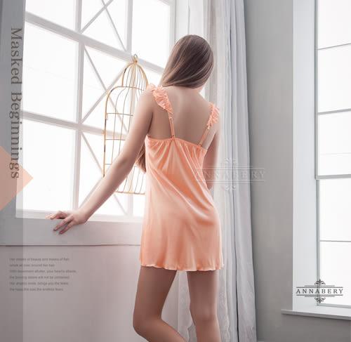 大尺碼 Annabery肩帶抓皺粉橘優雅睡衣 (OS小舖)