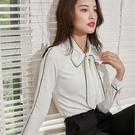 條紋配色綁蝴蝶結領長袖襯衫[20S294-PF]美之札