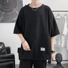 春夏短T桖夏季日系男士寬松黑色設計感潮牌潮流短袖t恤半截袖體桖ins上衣服