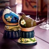 歐式手繪陶瓷牙簽筒家用牙簽罐創意時尚小鳥造型牙簽盒套裝【onecity】