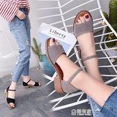 羅馬粗跟平底涼鞋女防滑學生露趾中跟魚嘴韓版百搭時尚潮 極有家