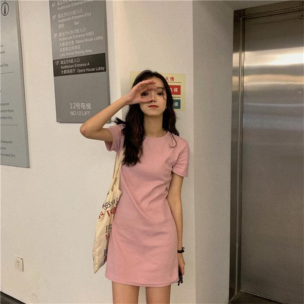 EASON SHOP(GW8083)韓版百搭純色長版OVERSIZE落肩寬鬆圓領短袖素色棉T恤裙連身裙洋裝女大尺碼內搭