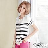 Victoria 條紋拼接雪紡短袖線衫-女-藍底白條